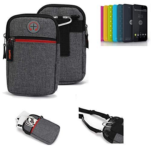 K-S-Trade® Gürtel-Tasche Für Shift Shift4.2 Handy-Tasche Holster Schutz-hülle Grau Zusatzfächer 1x
