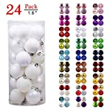 GameXcel Christmas Balls Ornaments for Xmas Tree - Shatterproof Christmas Tree Decorations Perfect Hanging Ball White 1.6' x 24 Pack