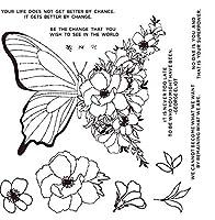 蝶の花DIYスクラップブッキングフォトアルバム用透明クリアシリコンスタンプシール装飾クリアスタンプA1315