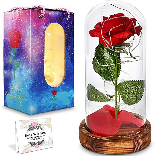 JAMITE Rosa Magica La Bella e la Bestia,Elegante Cupola in Vetro,Dotata di luci LED a Base di Pino Regalo di San Valentino,Compleanno Anniversario Matrimonio Regalo Festa della Mamma