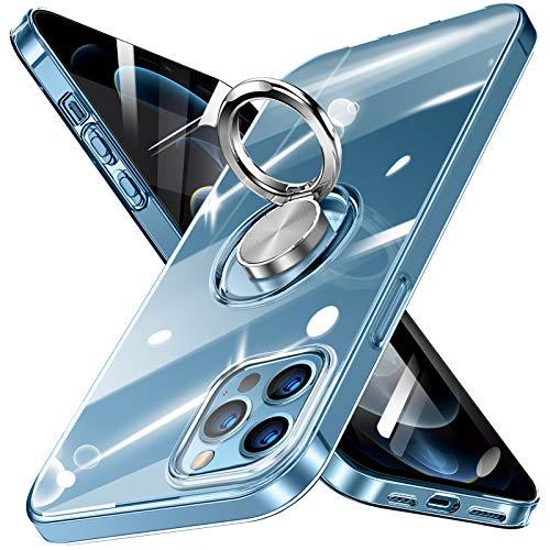 bafeibili iPhone 12 Hülle iPhone 12 Pro Hülle Silikon TPU Slim Case mit 360 Grad Ring Ständer Bumper Handyhülle Fingerhalter Magnetische Autohalterung Transparent Schutzhülle Cover für 6.1 Zoll,Clear