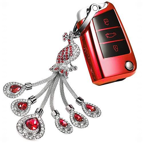 YABAISHI voor Volkswagen Key Fob Cover, met sleutelhanger, compatibel met afstandsbediening zonder sleutels, Tiguan, Golf Lamando, Serie Key