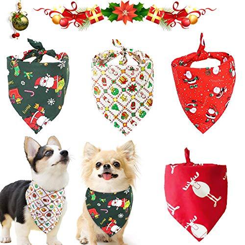 4 Stück Haustier Bandanas,Dreieckstuch,Haustier Dreieck Lätzchen,Halstuch Einstellbare für Hunde Katze,Weihnachten Hund Bandanas,Mit Weihnachtsmann Elchmustern,Weihnachten Haustier Halstuch Deko