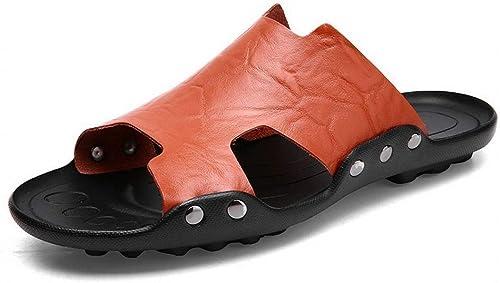 FELICIOO Chaussures de Plage en Cuir pour Hommes, Sandales de Plage
