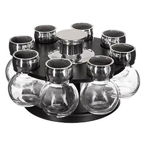 """FIVE Simply Smart - Présentoir à Épices Rotatif""""Fioles"""" 8 Pots Noir"""