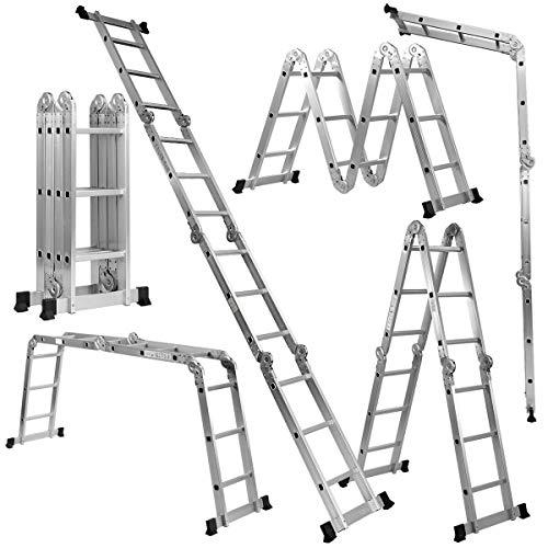 Giantex 7 in 1 Folding Extension Ladders, Multi Purpose Platform Extendable Scaffold Aluminum Step Ladder 330LB (12.5 Ft)