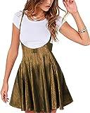 YOINS Falda Plisada de Mujer Falda Mini Skater Acampanada Vestido de Faldas de Tirantes Casuales de Moda Elástica Versátil Brillante Oro L