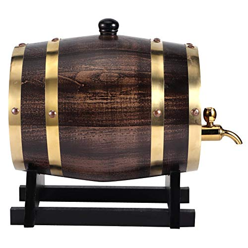 Gmkjh Barril de Vino, contenedor de Vino, 3L Retro Rayado Vino Negro Brandy Whisky Barril Roble contenedor de Cubo de Vino Tinto con Grifo