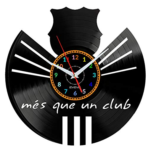 Barcelona Reloj de Pared Vinilo Tocadiscos Retro de Reloj