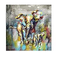 動物のキャンバス絵画、現代の抽象的な象の油絵水彩画ポスターキャンバスに印刷、家の装飾の壁の芸術キッチンやホールの廊下、フレームレス,Left,60×60cm