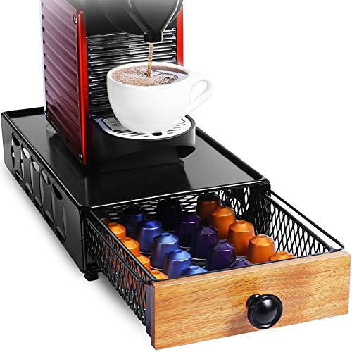 Coffee Pod Holder Storage Drawer for Nespresso capsule holder, HFHOME Heavy Duty Metal Storage Drawer for K-Cups, Verismo, Dolce Gusto, K cup holder Tea Organizer (Pure Black)