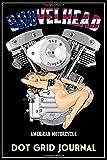 Shovelhead American Motorcycle Dot Grid Journal: Black Cover, Old School Harley Davidson USA Flag Pinup Bikini Model VTwin Rockabilly Biker Chopper Gear.   155 Page  Dot Grid Journal
