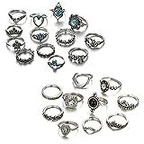 Damen Fingerring Set, 23 Stück Boho Ringe Silber, Vintage Knuckle Ringe, Stapelbare Ringe Set,...