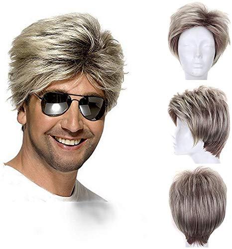 Heren Korte Blonde Pruiken Pluizige Rechte Licht Krullend Haar Synthetische Vervanging Volledige Hoofd Pruiken voor Man Man Man Man Man 6