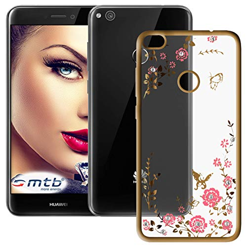mtb more energy® Schutz-Hülle Bloomy für Huawei P8 Lite 2017 / P9 Lite 2017 (5.2'') - Gold - TPU Hülle Cover Tasche