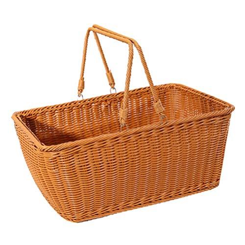 BESTonZON Picknickkorb Weidenkorb Geschenkkörbe Weide Gewebte Blume Gemüse Vorratsbehälter mit Griff, 40X35cm