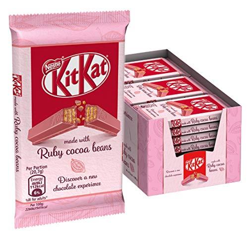 Nestlé® KITKAT® Ruby, Schokoriegel, knusprige Waffel in Ruby Schokolade, ideale Süßigkeit für die Pause, Menge: 24er Pack (24 x 41,5 g)