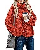 Zanzea Mujer Jersey Invierno Manga Larga Suelta Casual Suéter De Punto Tipo Cuello Tortuga Tops Cuello Vuelto Tallas Grandes Navidad Tops 01 Rojo Naranja XXL