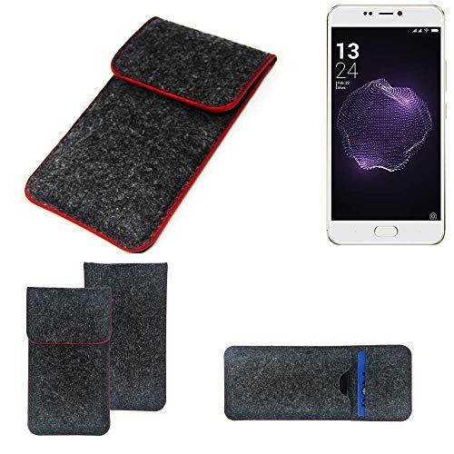 K-S-Trade® Handy Schutz Hülle Für Allview X4 Soul Style Schutzhülle Handyhülle Filztasche Pouch Tasche Case Sleeve Filzhülle Dunkelgrau Roter Rand
