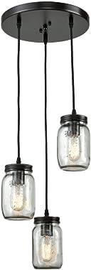 EUL Mason Jar Light Fixture Kitchen Island Lighting 3-Light Glass Jar Chandelier Fixture Oil Rubbed Bronze
