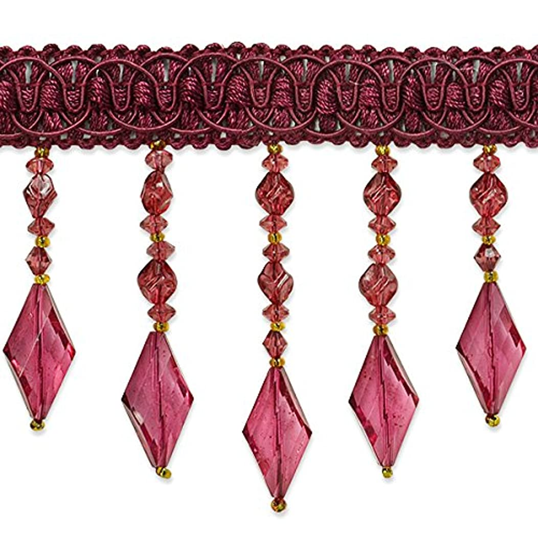Expo International Rosalie Diamond Bead Fringe Trim, 10 yd, Burgundy