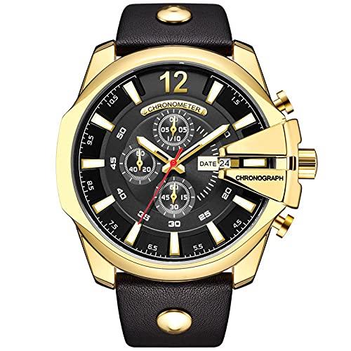 WNGJ Waterproof Hombre Relojes, Casual Cuarzo Relojes, Deportivo Relojes, Relojes De Negocios De Moda, Hombres, Empaque Exquisito Gold