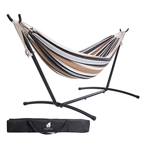 SUNCREAT Double Hammock and Space Saving Steel Stand Includes Portable Carrying Case, Extra Large Hammock for Backyard, Porch, Outdoor and Indoor Use, 10 FT-Desert Stripe