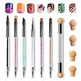 6 PZ Pennelli per Nail Art,Anself Pennello Gel Unghie Ricostruzione 1 PZ Doppia Punta Spug...