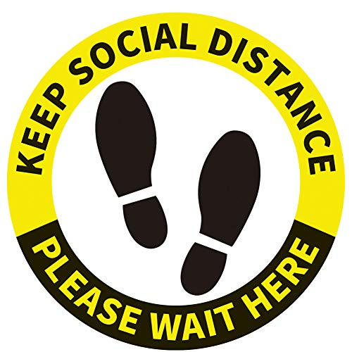 15 Pack Social Distancing Floor Decals Stickers - 12'' - Stand Here Safety Floor Sign Marker - Wait Here Keep Social Distance Stickers for Shopping Malls, Grocery, Pharmacy, Bank, Supermarket (Yellow)