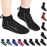 OMGear Water Socks Neoprene Socks Beach Booties Shoes 3mm Glued Blind Stitched Anti-Slip Wetsuit Boots Fin Swim Socks (3mm Low Cut/Grey, M(Men 8-9,Women 9-10))