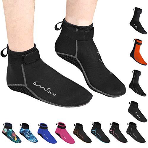 OMGear Water Socks Neoprene Socks Beach Booties Shoes 3mm Glued Blind Stitched Anti-Slip Wetsuit Boots Fin Swim Socks (3mm Low Cut/Grey, L(men9-10,women10-11))
