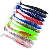 gzzebo 10 Pezzi Attrezzo di Pesca a Forma di Verme Artificiale Esca da Pesca in Silicone Morbido Multicolore