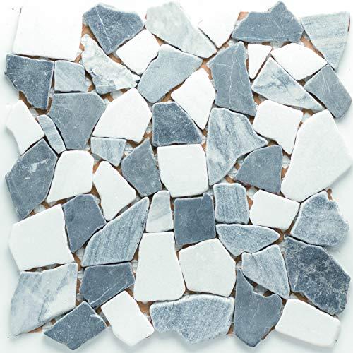 Mosaico de piedra natural, azulejos gris y blanco, polimosaico, pared, suelo, ducha, baño, cocina, 1 alfombrilla | ES-41275_b