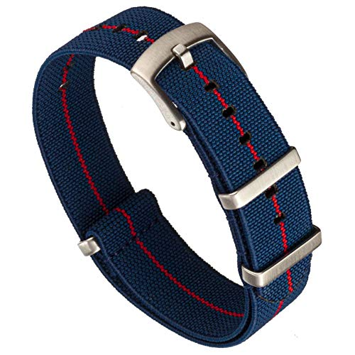 Benchmark Basics Elastic Watch Band - Parachute Nylon One-Piece Military Style Watch Straps for Men & Women (22mm, Navy Blue / Red Striped)