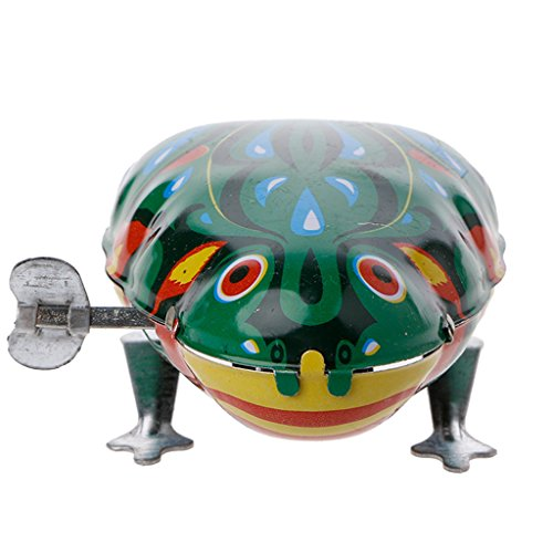 Gwxevce Metal Wind-up Jumping Frog Clockwork Tin Toys Enfants Funny Game Vintage Doll Frog Tin Toy Green