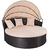 KaiMeng Patio Sectional Round Daybed Rattan Outdoor Sofa Retractable Canopy, PE Wicker Bed Furniture with Cushion Detachable for Backyard Garden Porch (Beige)