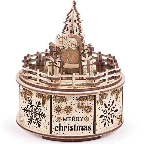 Wood Trick Music Box Gifts from Santa Model Kit - We Wish You a Merry Christmas Beautiful Melody - Very Sturdy and Ecological - 6x5″ - 3D Wooden Puzzle
