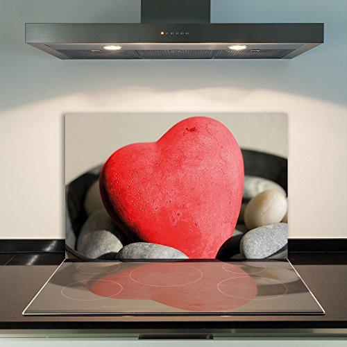 damu   para cubrir la vitrocerámica 1piezas 80x 52cm cubiertas de acero Cristal Corazón Rojo eléctrico Horno Cocina de inducción Placa de protección contra salpicaduras Cristal–Tabla de cortar