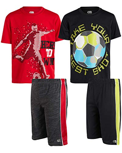 Only Boys 4-Piece Performance Sports T-Shirt and Short Set, Size 12/14, Win/Best Shot