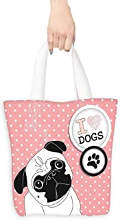 Pug Tote I Love Dogs with a Paw Print Emblem Pug with Tilted Head Cute Fun Animal Print Lightweight 16.5