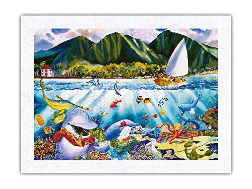 Pacifica Island Art Dinner at Seven - Hawaiian Fish (Iʻa) Feast - Marine Life Sea Banquet - from an Original Hawaii Watercolor Painting by Peggy Chun - 100% Pure Silk Dupioni Fabric Print 18 x 24in