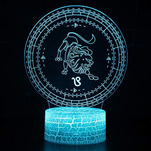 Zwölf Sternbilder Serie Vision Licht Illusion Licht 3D Nachtlicht Led Fernbedienung Bunte Note Kreative Neuheit Geburtstagsgeschenk Tischlicht Nachtlicht-Leo