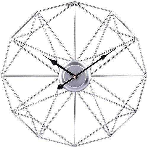 Reloj de pared grande de 50 cm, estilo vintage, XXL, silencioso, sin garrapatas, de metal, números romanos para sala de estar, oficina, cocina, decoración, color plateado