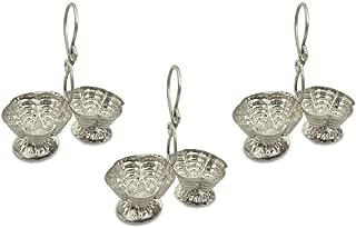 Shubhkart Silver Plated Haldi Kumkum Stand (Pack Of 3), Handmade Silver Plated Holder for Hanldi and Kumkum.