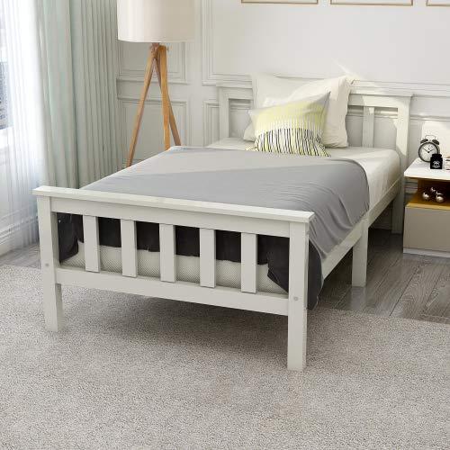 Cama individual de madera maciza con somier de láminas y cabecero, cama infantil juvenil de pino macizo, color blanco, 90 x 200 cm
