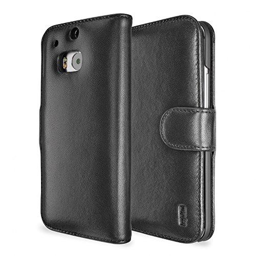 Artwizz SeeJacket Leather Handyhülle designed für [HTC One (M8)] - Schutzhülle zum Aufklappen aus Leder mit Magnetverschluss - Schwarz