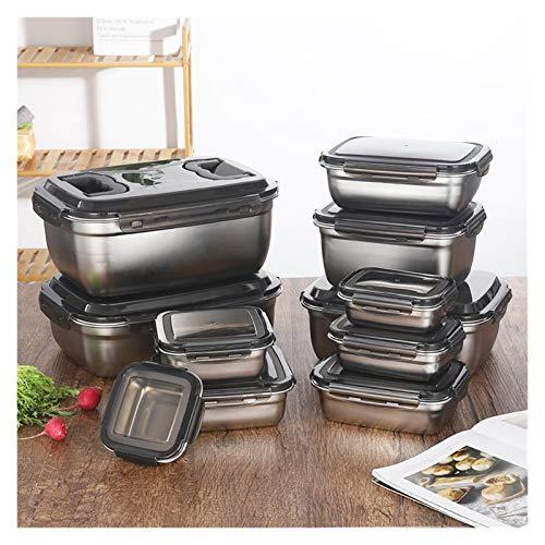 Artículos de cocina Organizador de almuerzo Refrigerador Accesorios Organizador 304 Acero inoxidable Refrigerador Caja de almacenamiento de alimentos Bento 210330 (Color : 350ml)