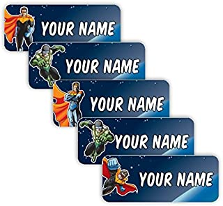 Original Personalized Peel and Stick Waterproof Custom Name Tag Labels for Adults, Kids, Toddlers, and Babies – Use for Office, School, or Daycare (Superheroes Theme)