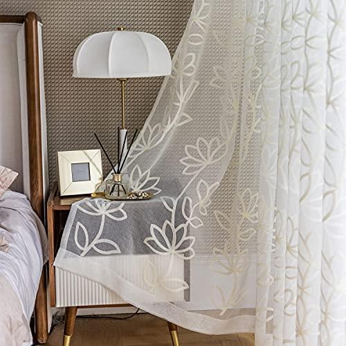 M&W DAS DESIGN Cortina con diseño de flor de loto, color beige, 140 x 245 cm (ancho x alto), 1 pieza