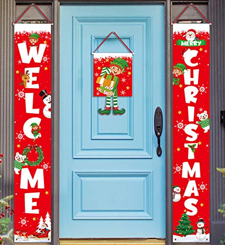 Geefuun 3 Pieces Christmas Decorations Banner - Welcome Christmas Porch Sign Elf Decor Xmas Hanging Front Door Indoor Outdoor Holiday Party Supplies